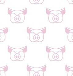 Pig seamless pattern Boar head ornament Pork vector image