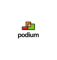 podium logo design concept vector image