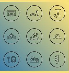 Public skyline icons line style set with traffic vector