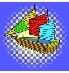 Sailing ship pop art vector image