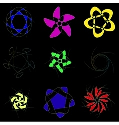 Schematic flowers on a black background vector