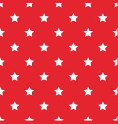 seamless white stars on red background vector image