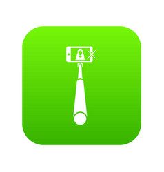 selfie stick with mobile phone icon digital green vector image