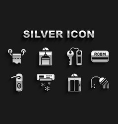 Set air conditioner hotel key card shower head vector