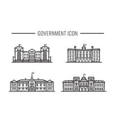 set government building facades icon outline vector image