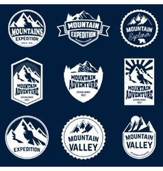 Set mountains hiking and outdoor adventures vector