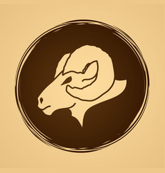 sheep big horn head ovis face vector image