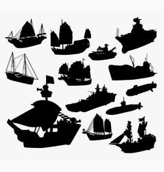 Ship boat and submarine transportation silhouett vector