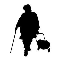 silhouette of an elderly woman with a cane vector image
