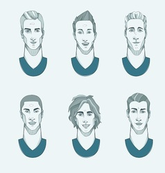 six man with different races vector image
