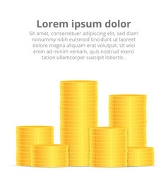 Stacks of gold coins income and profits isolated vector