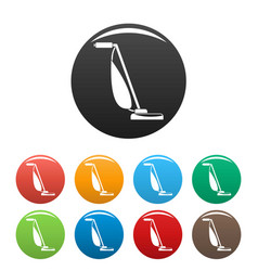 Stick vacuum cleaner icons set color vector