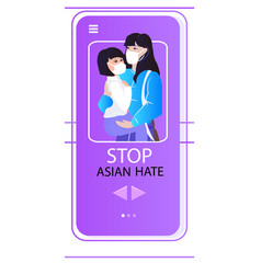 stop asian hate mother with child activists vector image