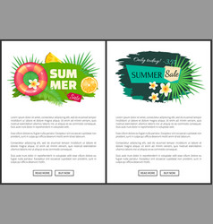summertime advertisement labels decorated fruit vector image