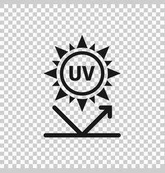 Uv radiation icon in flat style ultraviolet vector