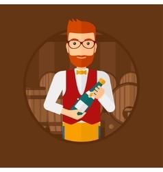 Waiter holding bottle in wine cellar vector
