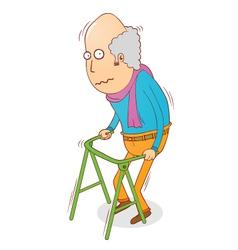 Walking old man vector