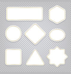 white banners various shapes with golden vector image