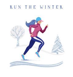 winter speed running banner with woman training vector image