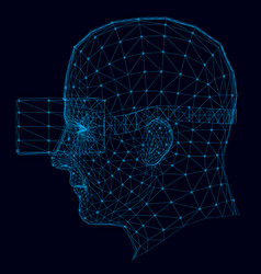 wireframe human head in virtual reality vector image