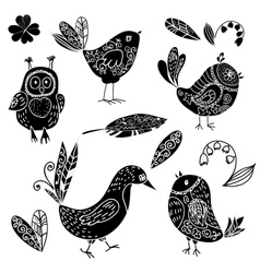 Black silhouettes bird and flower doodle set vector image vector image