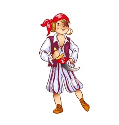 Boy dressed as pirate for Christmas vector image vector image