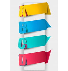 Colorful tags with letters vector image vector image