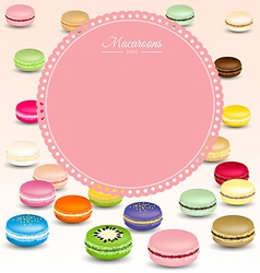 Macaroons background and sweet pink frame vector image