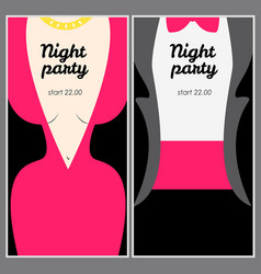 retro party poster with woman in pink evening vector image vector image