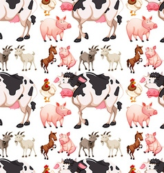 Seamless background with farm animals vector