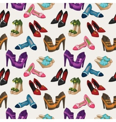 Seamless womans fashion shoes pattern vector image