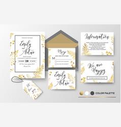 Wedding invite invitation thank you rsvp label vector