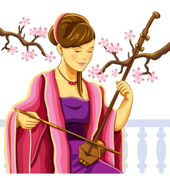 beautiful chinese erhu player vector image vector image