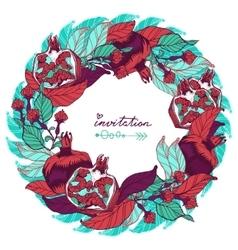 Bright Pomegranate invitation postcard banner or vector image vector image