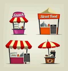cartoon snack street fast food stand coffee bar vector image