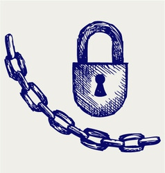 Chain and lock vector image vector image