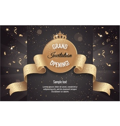 Grand opening horizontal banner with confetti vector image