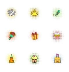 Holiday birthday icons set pop-art style vector