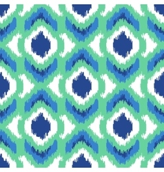 Ikat geometric seamless pattern turquoise vector