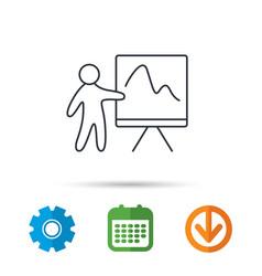 presentation icon statistics chart sign vector image