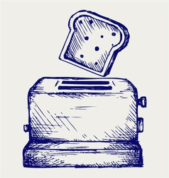 Toast popping out of a toaster vector image vector image