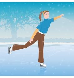 woman skating vector image vector image