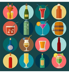 Alcohol drinks icons 16 flat icons set vector image