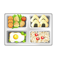 lunch box of japanese bento meals sushi rolls vector image vector image