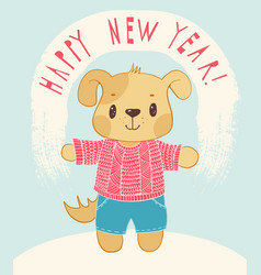 new years card with cartoon dog vector image