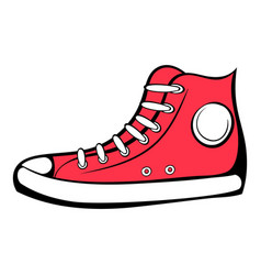red sneaker icon cartoon vector image