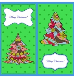 Set of christmas cards with trees vector image vector image