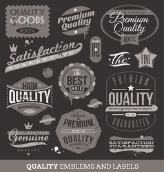 Signs emblems and labels of quality and guaranteed vector image vector image