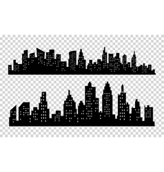 black city silhouette icon set isolated on vector image