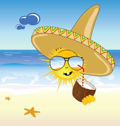 coconut and sun on the beach vector image vector image